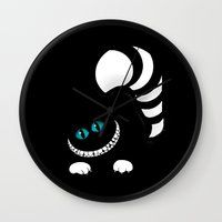cheshire Wall Clocks featuring Cheshire Grin by Sherry Yuan