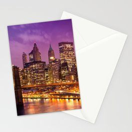 Awesome Brooklyn Bridge Magnificent Manhattan Skyline Citylights At Romantic Evening Red Ultra HD Stationery Cards