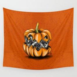 Halloween Pumpkin Pug Wall Tapestry