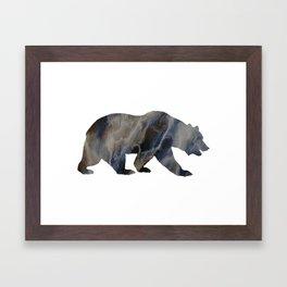 Marble Bear Silhouette Framed Art Print