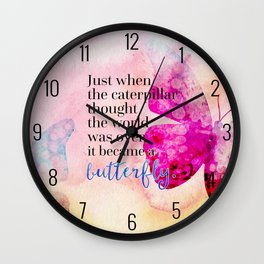 Became A Butterfly Motivational Quote Wall Clock