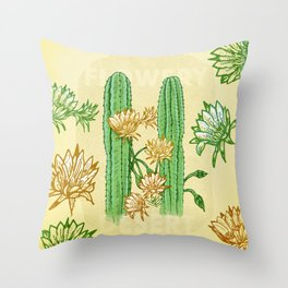 Flowery cactus Throw Pillow