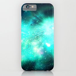 Abstract Nebula #11: Green rays iPhone Case