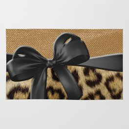 Leopard Print & Gold Metallic Black Ribbon Rug