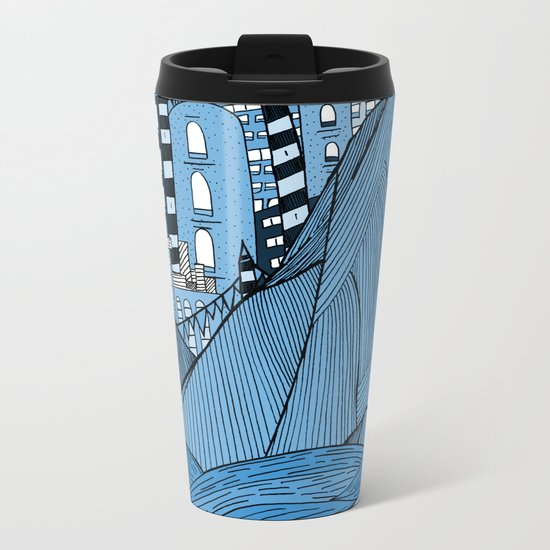 Sea cliff Town Metal Travel Mug