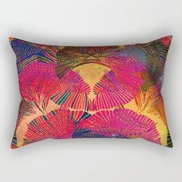 Rainbow background. Gingko biloba leaves. Hand painted Pattern. Rectangular Pillow