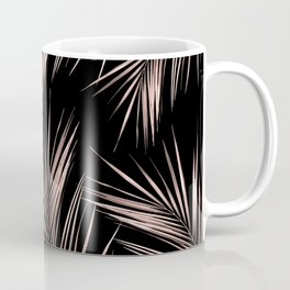 Rosegold Palm Tree Leaves on Midnight Black Coffee Mug