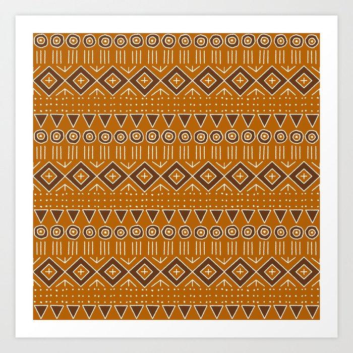 Mudcloth Style 2 in Burnt Orange and Brown Kunstdrucke