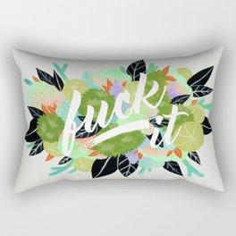 Fuck It Floral- Green Rectangular Pillow