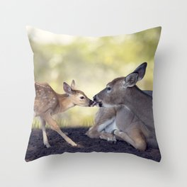 White-tailed female deer with  her  little baby Throw Pillow
