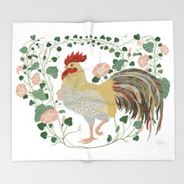 Rooster and morning glory Throw Blanket