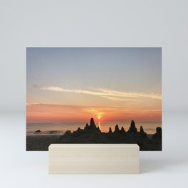 Sunrise sandcastle at the ocean | Rehoboth Beach, DE Mini Art Print