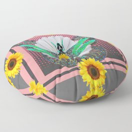 GREEN DRAGONFLY FLORAL UNIVERSE Floor Pillow