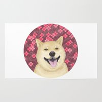 shiba Area & Throw Rugs featuring pixel shiba by desks.lava