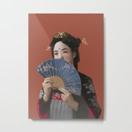 Lady with a fan Metal Print