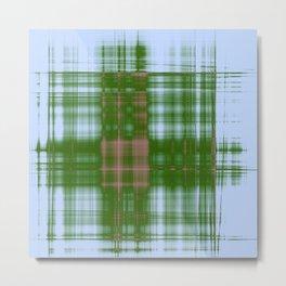 Modern western plaid in green and blue Metal Print