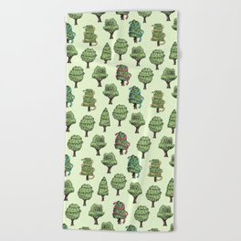 Decorated Trees Beach Towel