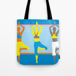 Simple silhouettes of women doing yoga Tote Bag