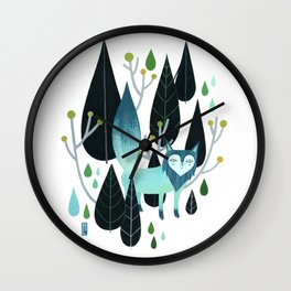 Foxy Forest Wall Clock