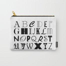ALPHABET ABCs Artwork - Black & White Carry-All Pouch
