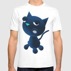 Light Blue Cat MEDIUM Mens Fitted Tee White