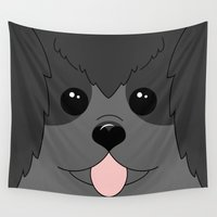 poodle Wall Tapestries featuring Black Poodle Face by Unique Digital Art
