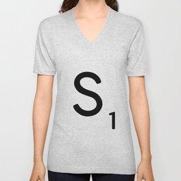 Letter S - Custom Scrabble Letter Tile Art - Scrabble S Initial Unisex V-Neck