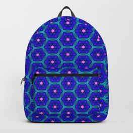 Pink Stars on Blue Backpack