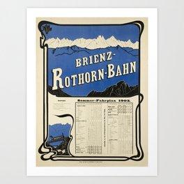 vintage Plakat brinez rothorn bahn brienz Art Print