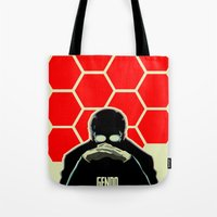 evangelion Tote Bags featuring Gendo Ikari from Evangelion. Super Dad. by Barrett Biggers