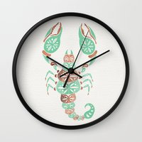 rose gold Wall Clocks featuring Scorpion – Mint & Rose Gold by Cat Coquillette