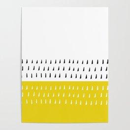Black & white rain on yellow Poster