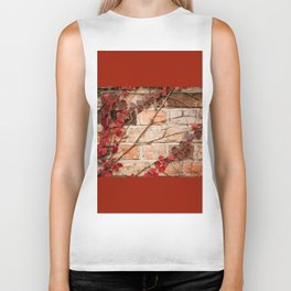 Red ivy leaves creeper on bricks wall Biker Tank