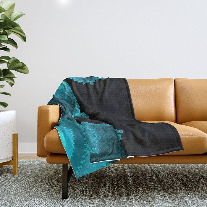 Black Ice - Fractal Art Throw Blanket