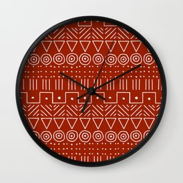 Mudcloth Style 1 in White on Red Wall Clock