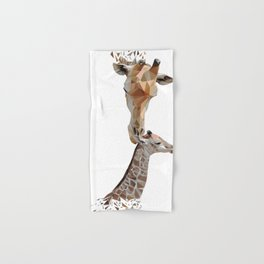 Mother and baby giraffe, low poly Hand & Bath Towel