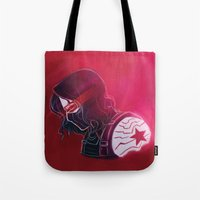 the winter soldier Tote Bags featuring Winter Soldier  by Charleighkat