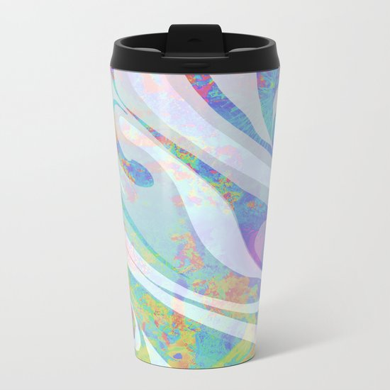 Abstract Colors Waves Design Metal Travel Mug