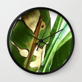 Exquisite Bird of Paradise Leaf in Majestic Repose Wall Clock