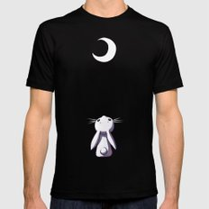 Moon Bunny Black Mens Fitted Tee LARGE