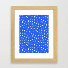 Blue Party Paint Dots Framed Art Print