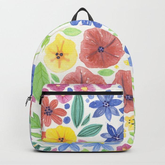 Doodle floral garden in watercolor Backpack