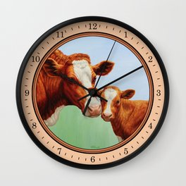 Guernsey Cow and Cute Calf Wall Clock