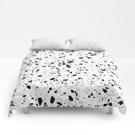 Black White and Grey Speckles Terrazzo Monochrome Dots Patter Comforters