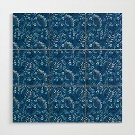 Classic Blue Flora Wood Wall Art