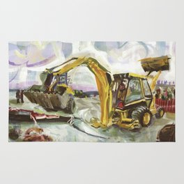 Blue whale on Second Beach, dissection with back-hoe, No. 4 - Middletown Rug