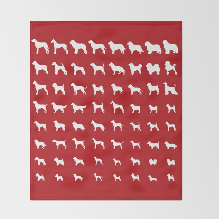 All Dogs (Red) Throw Blanket
