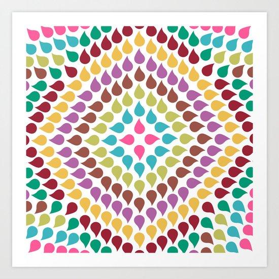Seamless Colorful Raindrops IV Art Print