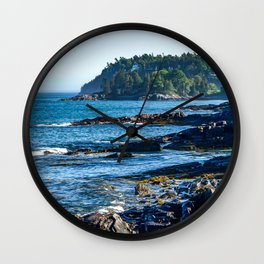 Costal Vibes // Northeastern Maine Rocks and Ocean Photograph Wall Clock