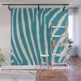 Teal & Cream Zebra Print Wall Mural